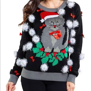 Tipsy Elves Ugly Christmas Cat Sweater